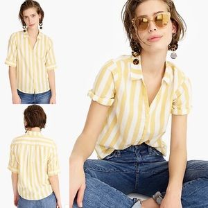 J. Crew Short Sleeve Button Up Shirt Wide Stripe